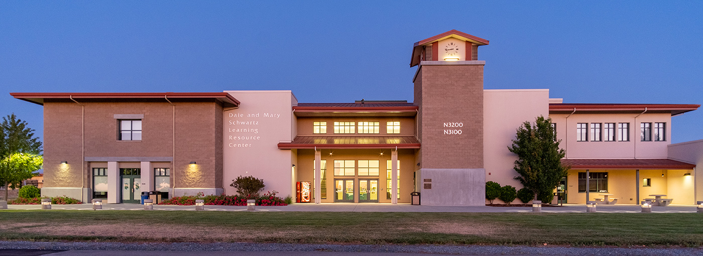 Schwartz Building at dusk, North County campus