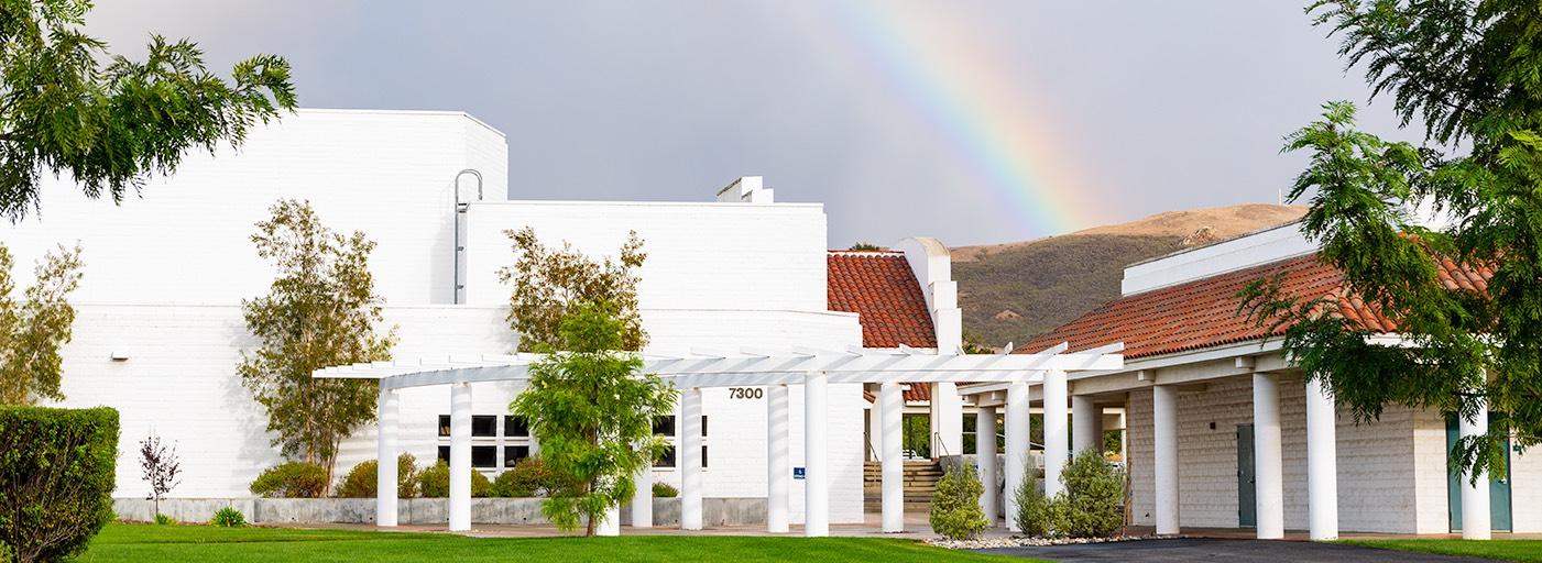Cuesta SLO Campus with rainbow