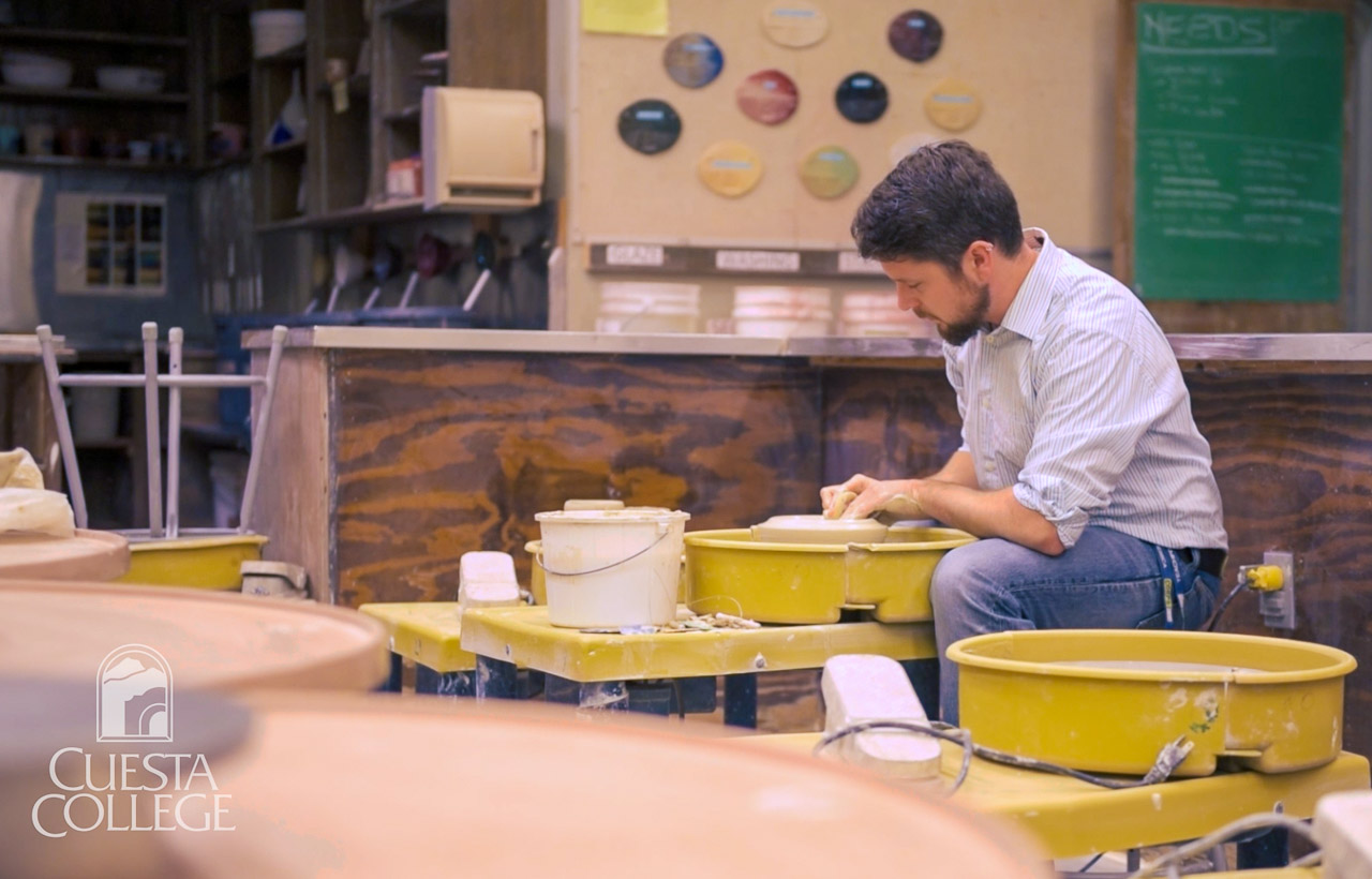 Jarred Pfeiffer, Ceramics Instructor, at the wheel