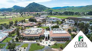 Aerial over San Luis Obispo campus with logo