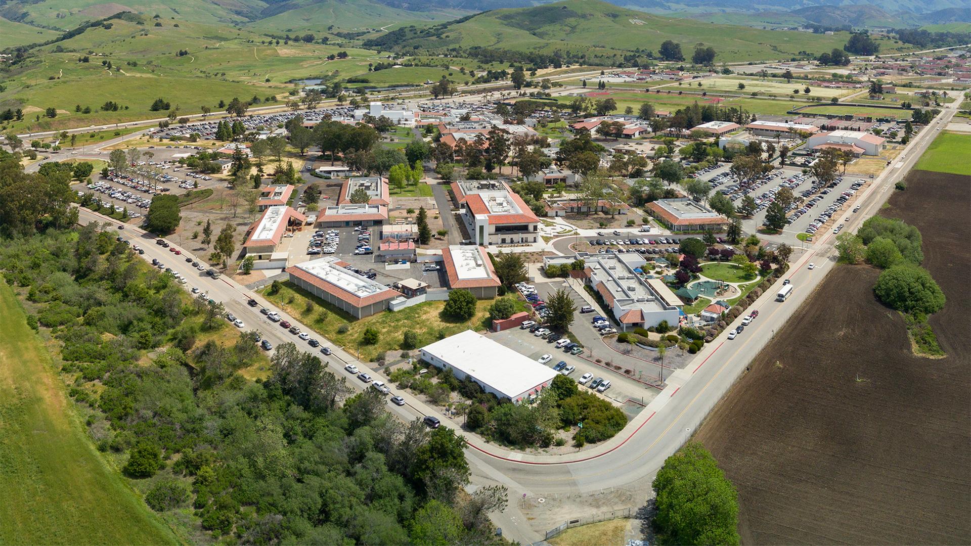 Cuesta College San Luis Obispo campus aerial rear entrance