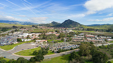 San Luis Obispo campus aerial looking south
