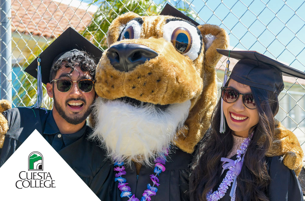 Two graduating students with Cougie the Mascot