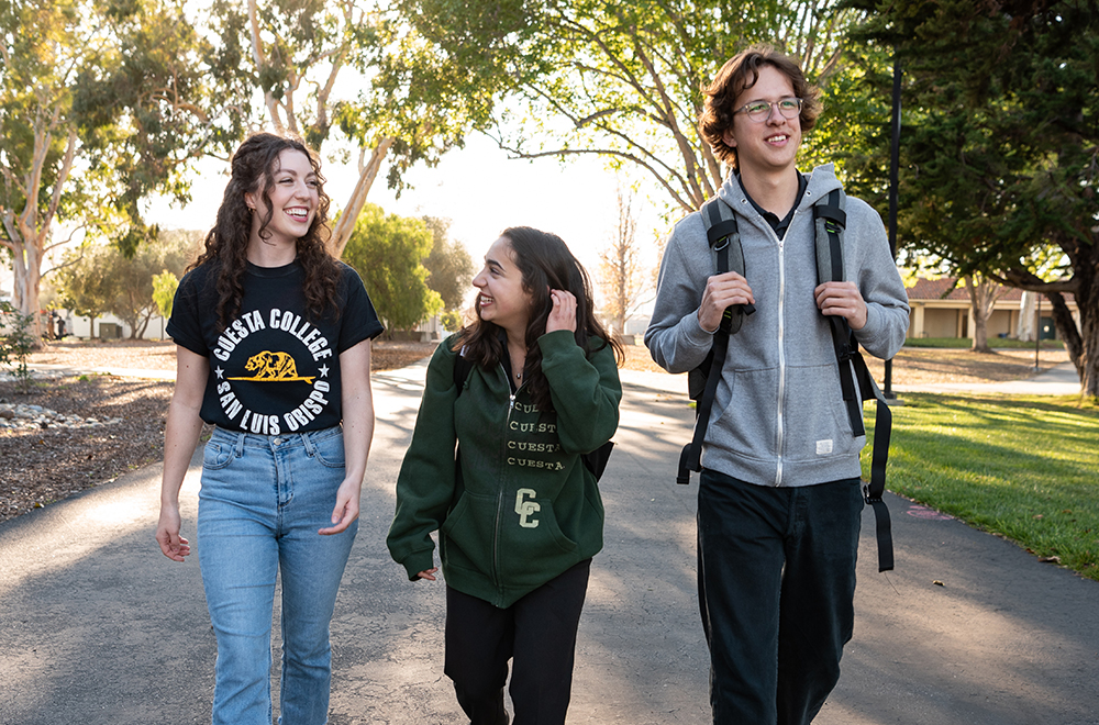 Cuesta College students walking on the SLO campus