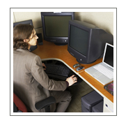Computer Desk with lady working