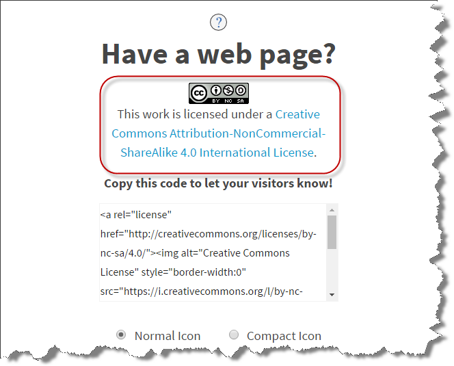 Screenshot of Creative Commons licensing page circling final licensing information