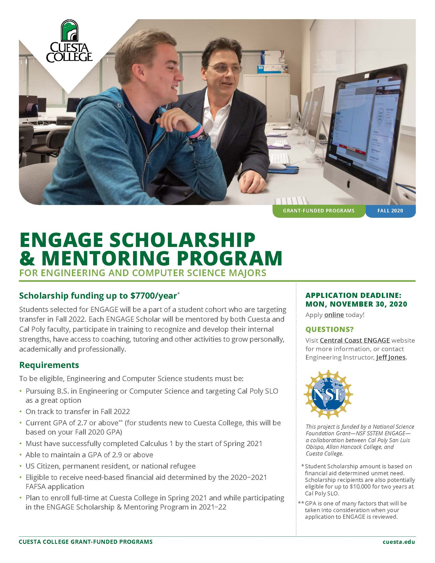 ENGAGE Scholarship and Mentoring Program Flyer