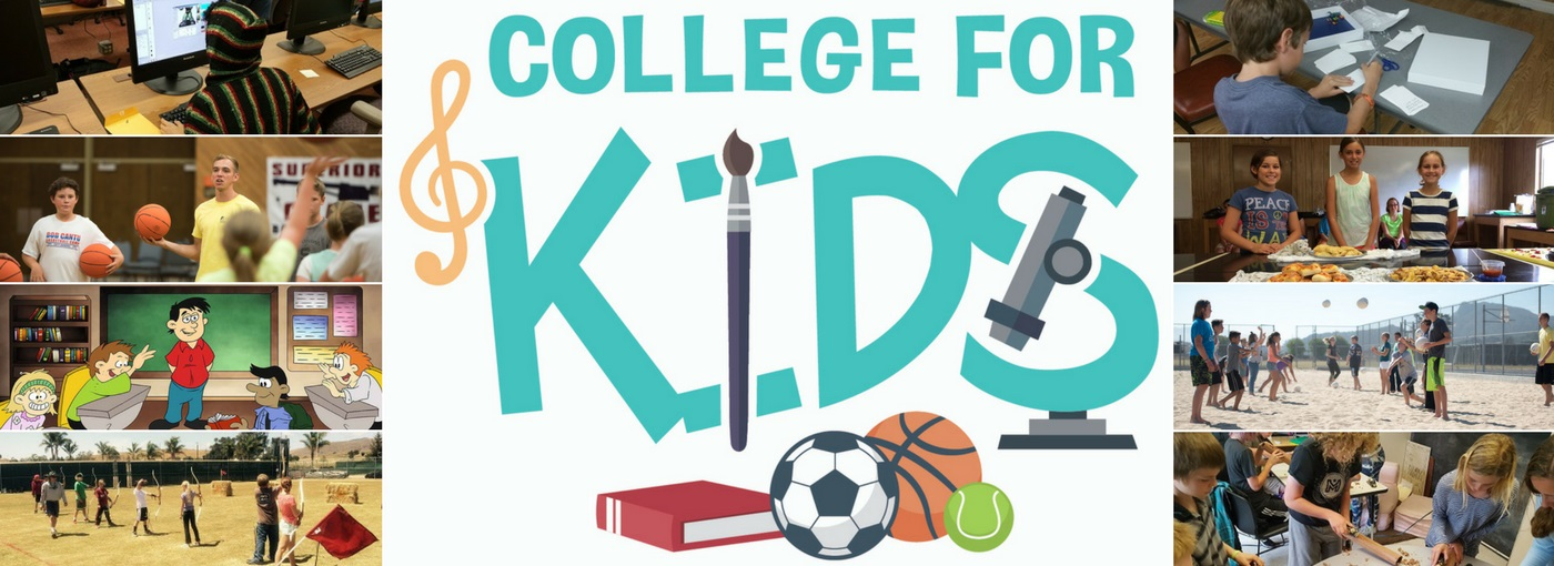 College for Kids text with photos of students