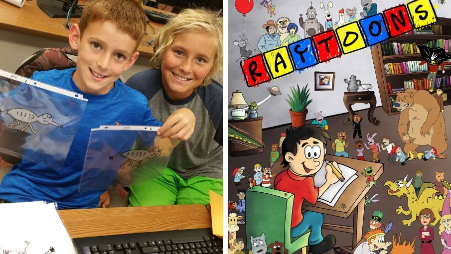 students with art work and Raytoons comic book cover