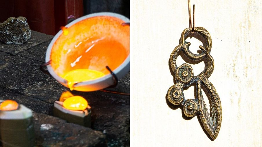 trio of images of cuttlefish casting, bronze, and finished necklace