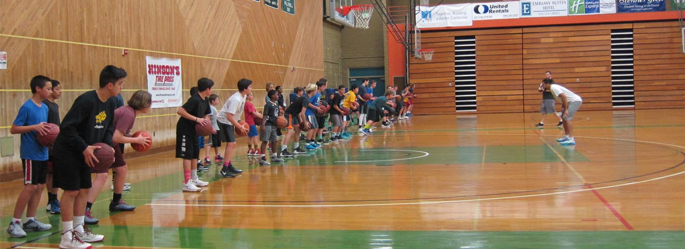 Hoop Camp students being coached