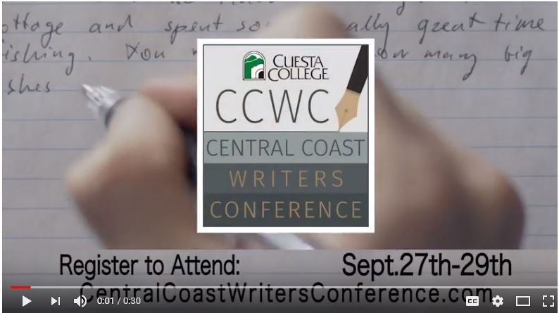YouTube Screenshot of Central Coast Writers Conference Commercial
