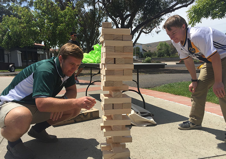 Giant jenga game at spring de-stress event