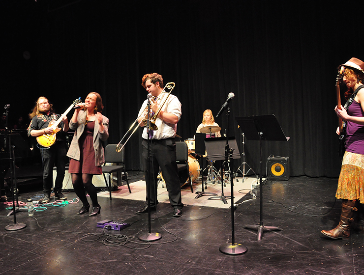 Slide 3 Image of Cuesta Jazz Students playing on CPAC Mainstage