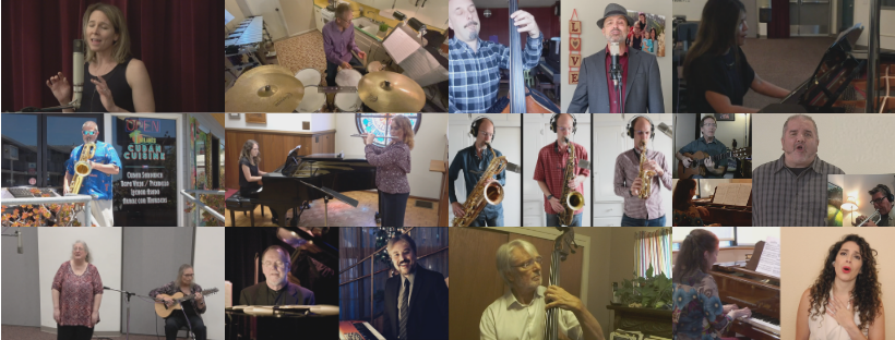 Grid of Music Faculty playing from home