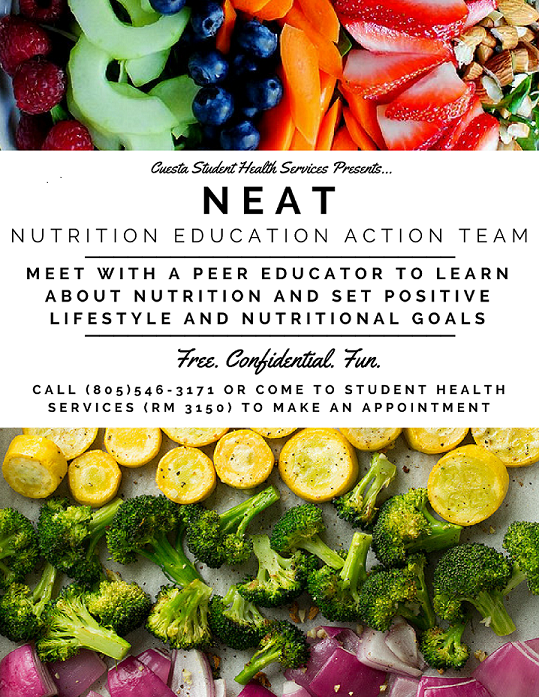 NEAT: nutritional peer couseling. help set positive health goals.