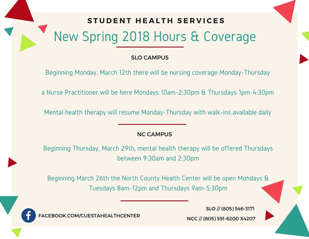 spring 2018 health center hours for north and SLO campus
